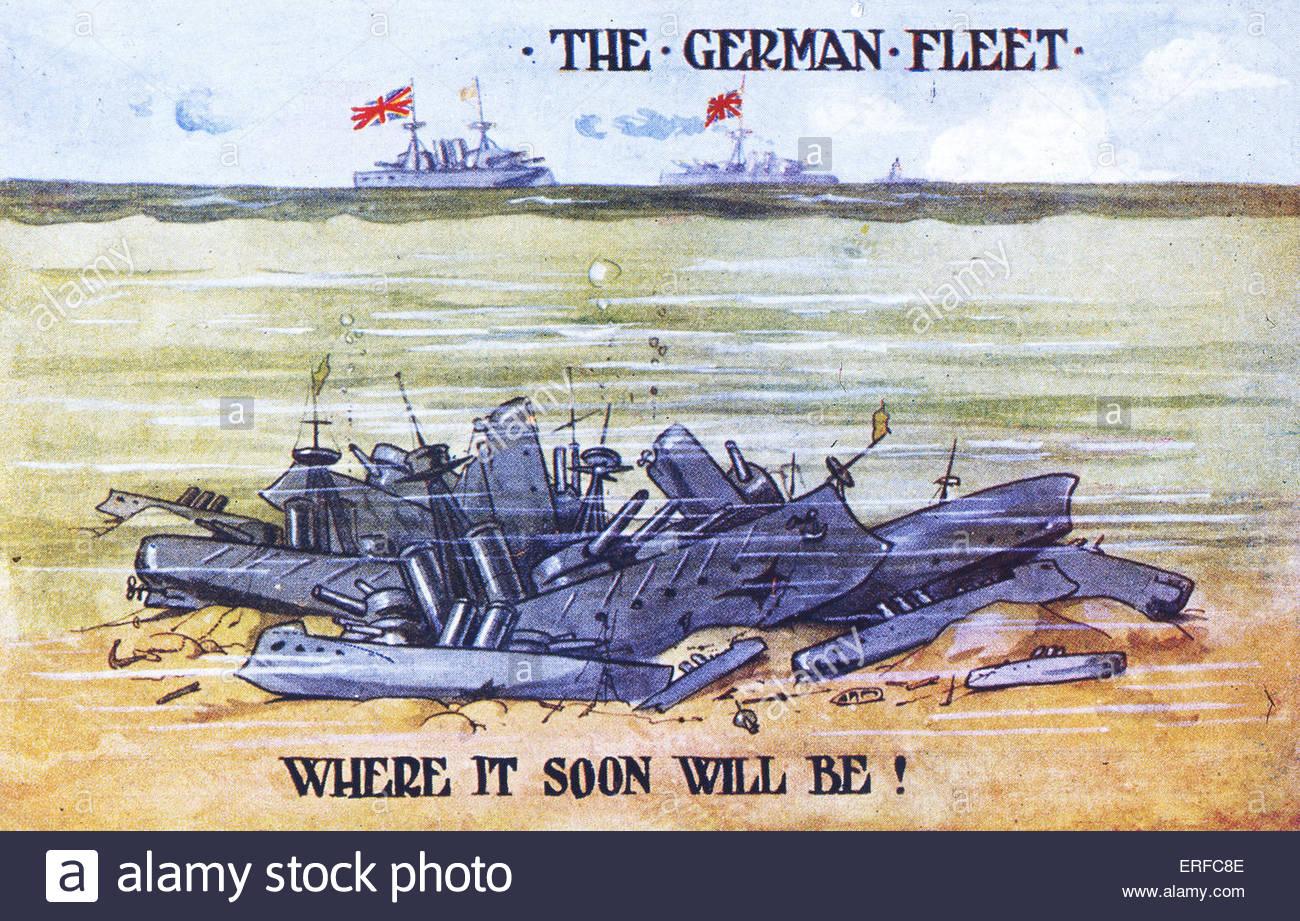 """"""" La flotta tedesca - dove sarà presto!"""". Inizio del ventesimo cnetury cartolina mostra affondato Immagini Stock"""