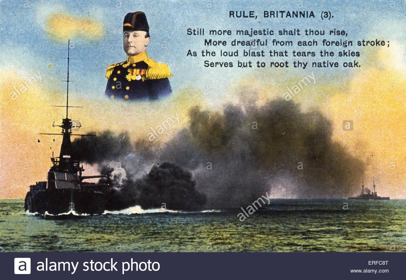 """""""Regola Britannia (3)', all'inizio del ventesimo secolo cartolina marittima. Mostra corazzate combattimenti, Immagini Stock"""