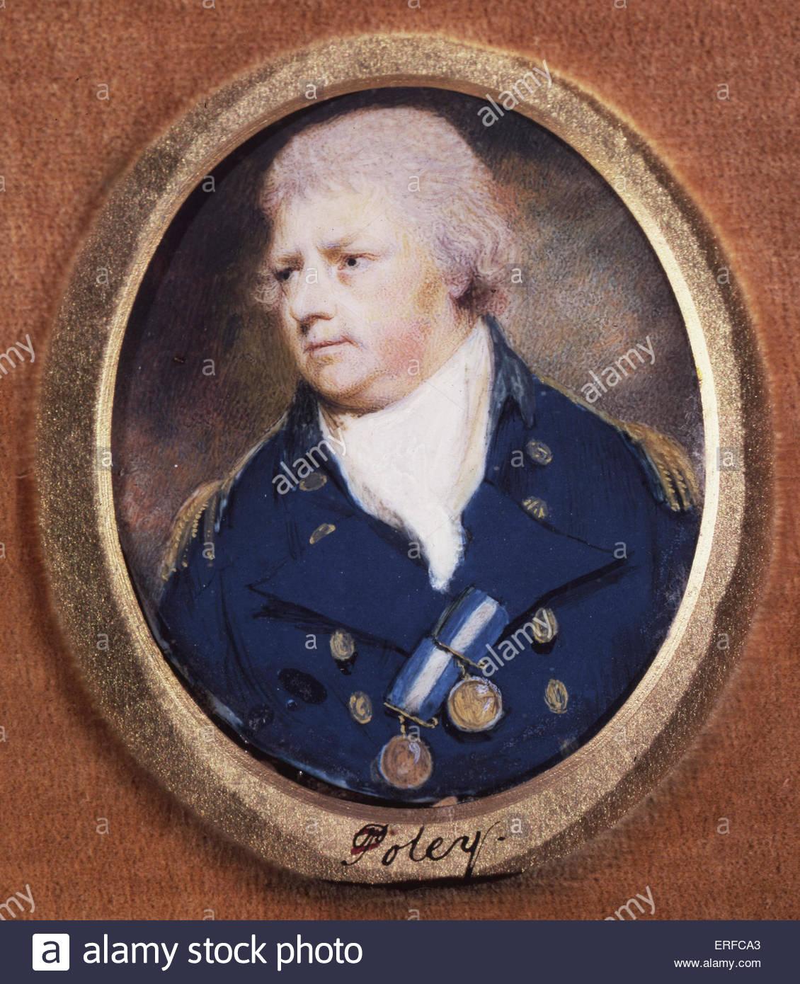 Ritratto in miniatura del capitano Thomas Foley, c.1800, indossando il capitano 1795-1812 uniforme. La cortesia Immagini Stock