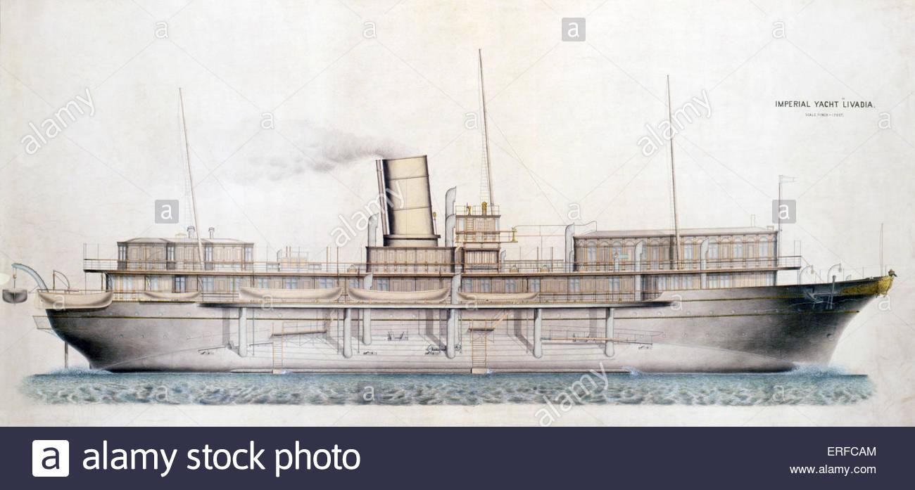 """""""Livadia' (Russo Royal Yacht) Profilo, 1880. La cortesia National Maritime Museum di Londra. Immagini Stock"""