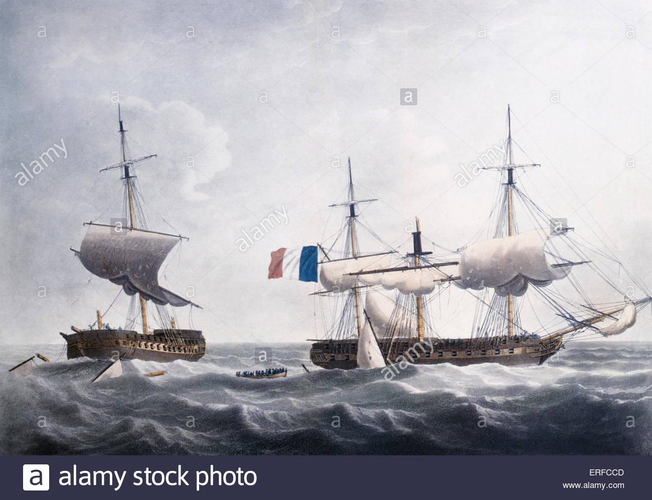 'Situazione dell' onorevole compagnia la nave di Warren Hastings dopo quattro ore di scontri e di essere Immagini Stock