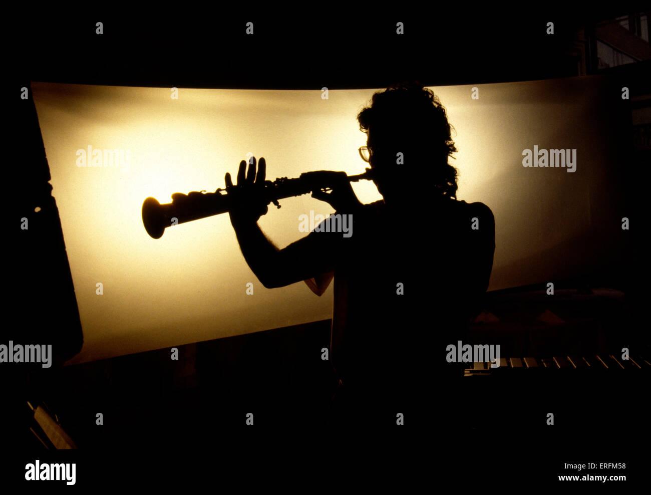 Sassofono Soprano player - silhouette. Generic shot - nome sconosciuto Immagini Stock