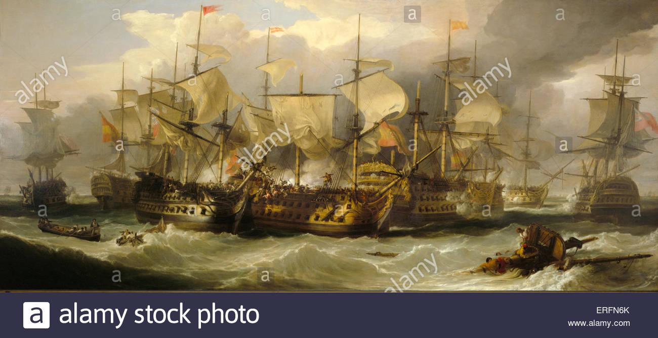 La Battaglia di Capo San Vincenzo, 14 febbraio 1797, da Sir William Allan, metà C XIX secolo la pittura. Pittore Immagini Stock