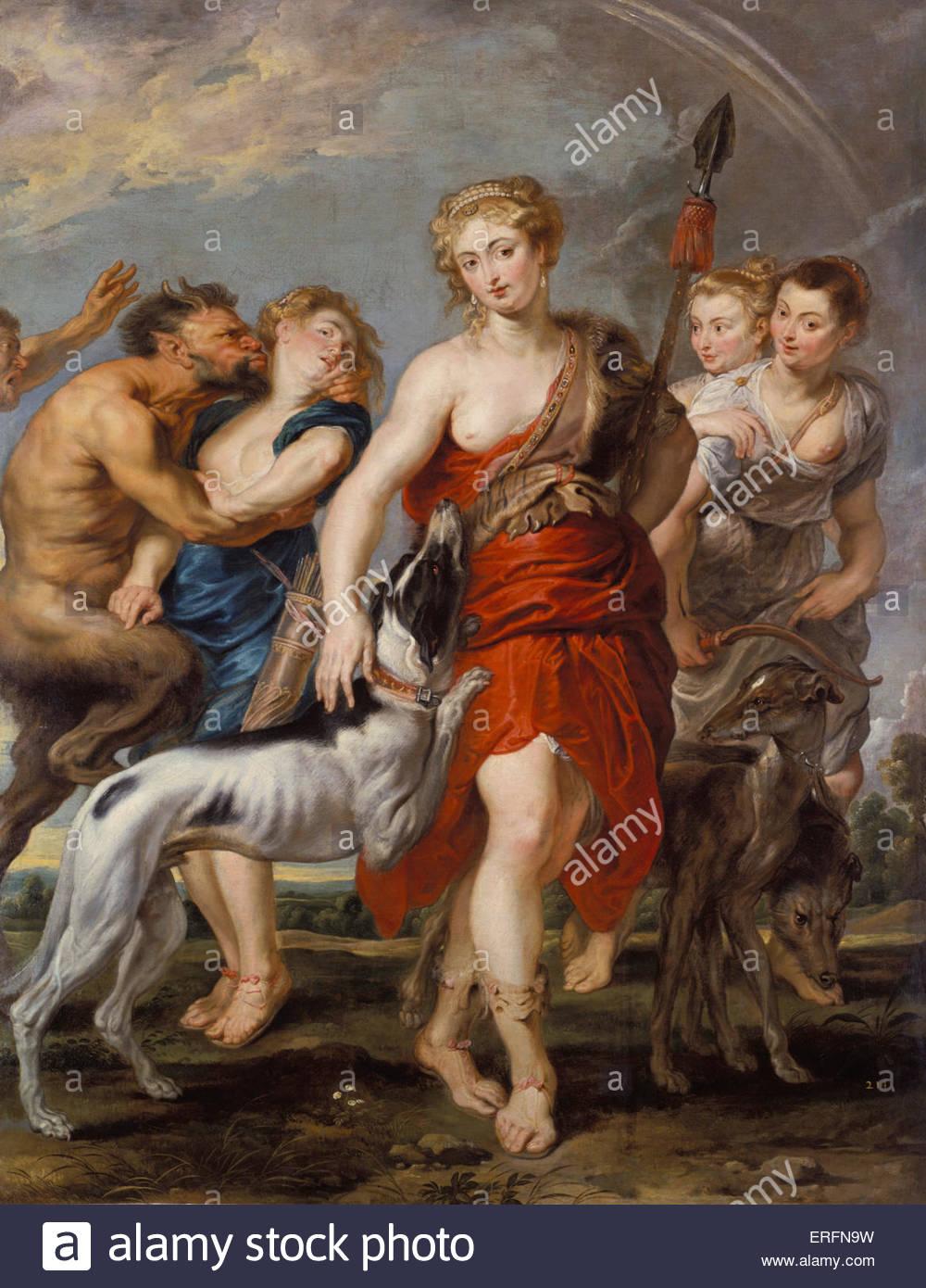 Diana e le sue ninfe sulla caccia da Peter Paul Rubens, c.1615 pittura. Pittore fiammingo, 28 Giugno 1577 - 30 maggio Immagini Stock