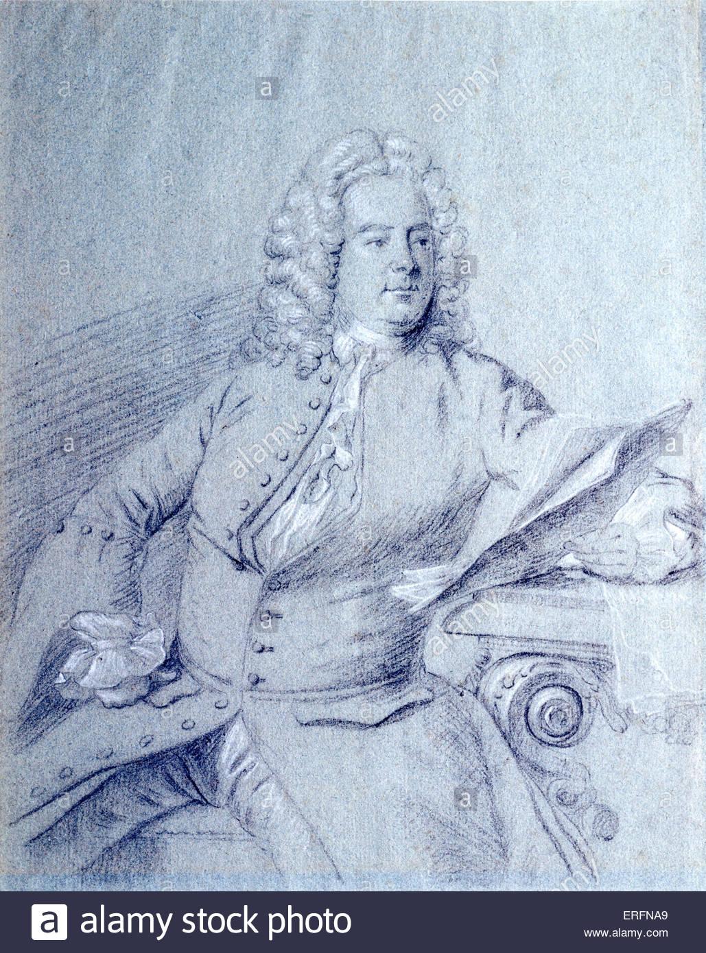 George Frideric Handel - Ritratto del tedesco / inglese compositore. Artista sconosciuto. Disegna la cortesia di Immagini Stock