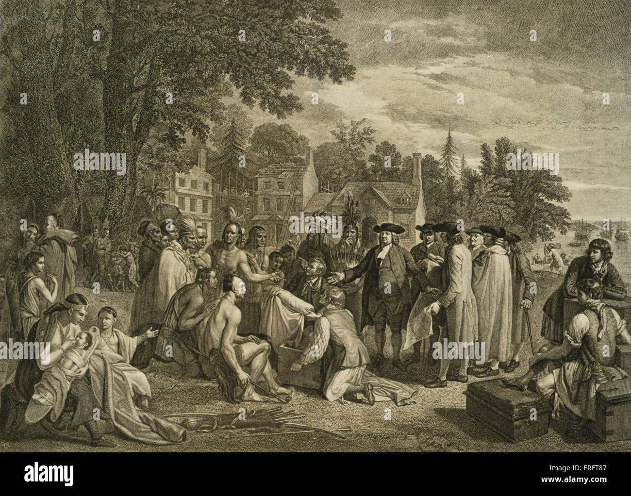 'William Penn trattato con gli indiani, quando fondò la provincia di Pennsylavnia, 1681' - dopo un Immagini Stock