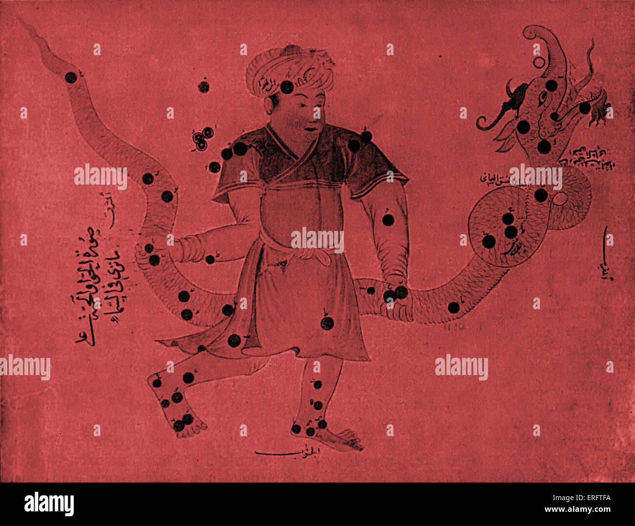 Miniatura arabo da un libro di astronomia - costellazione del serpente Immagini Stock