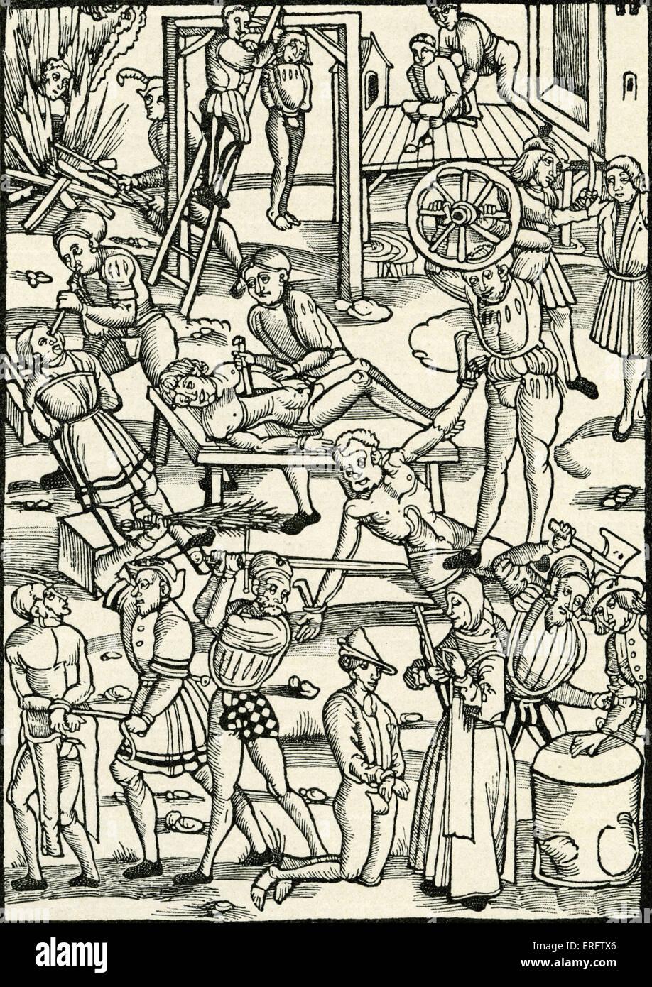 La punizione e le esecuzioni nel Medioevo. Xilografia di Magonza Johann Schoffer 1508. Scriccatura occhi, con coltello, Immagini Stock