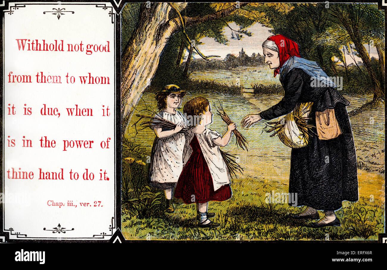 """Insegnare ai bambini la morale: """"Non rifiutare il bene a chi è dovuto quando è in tuo potere il farlo"""". Immagini Stock"""