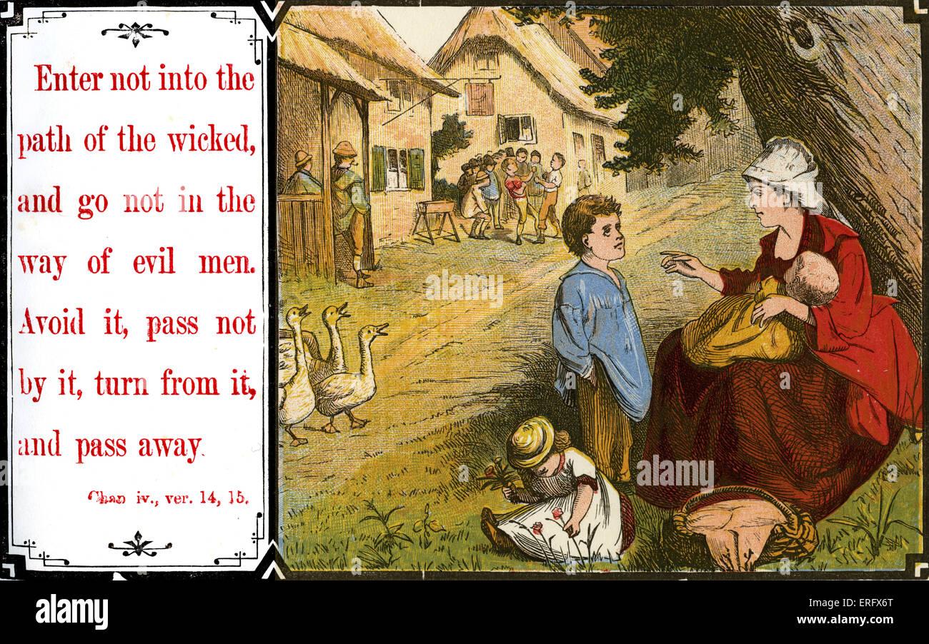 """Insegnare ai bambini la morale:""""Non battere la strada degli empi e non camminare per la via dei malvagi. Evitare Immagini Stock"""
