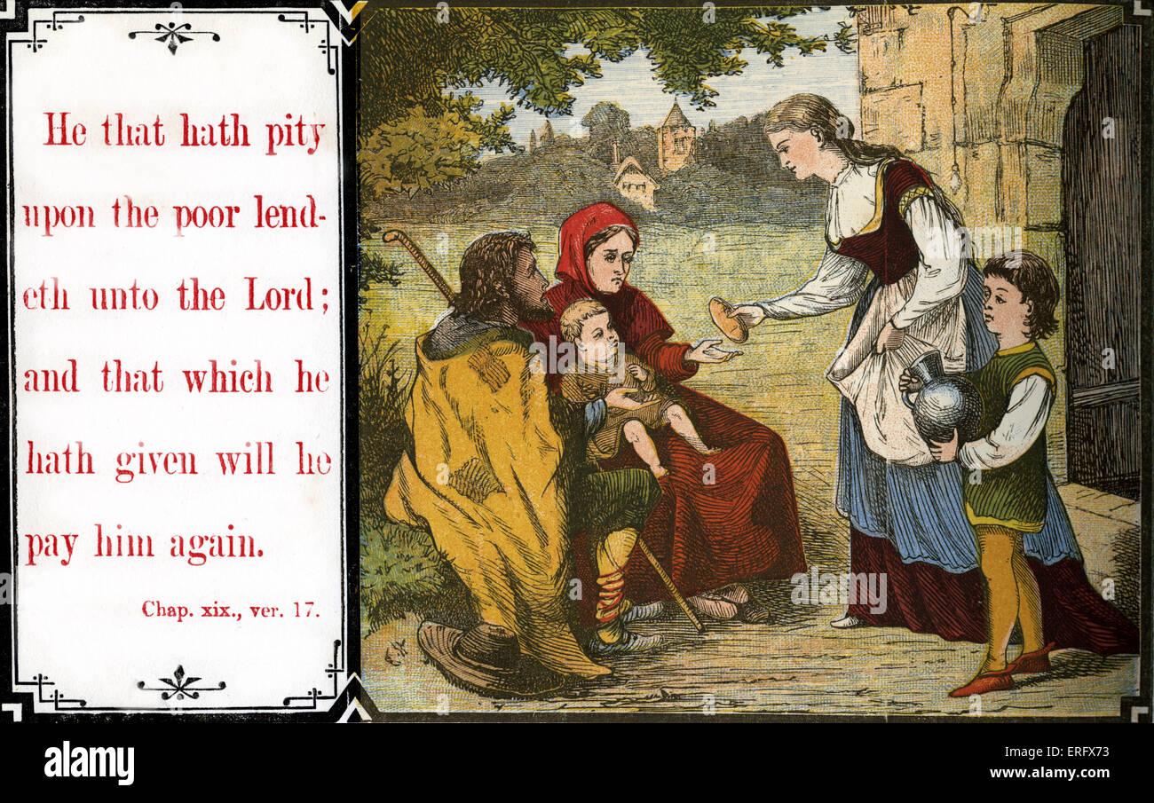 """Chidren insegnamento morale: """" Chi ha pietà del povero lendeth per il Signore; e ciò che egli ha Immagini Stock"""