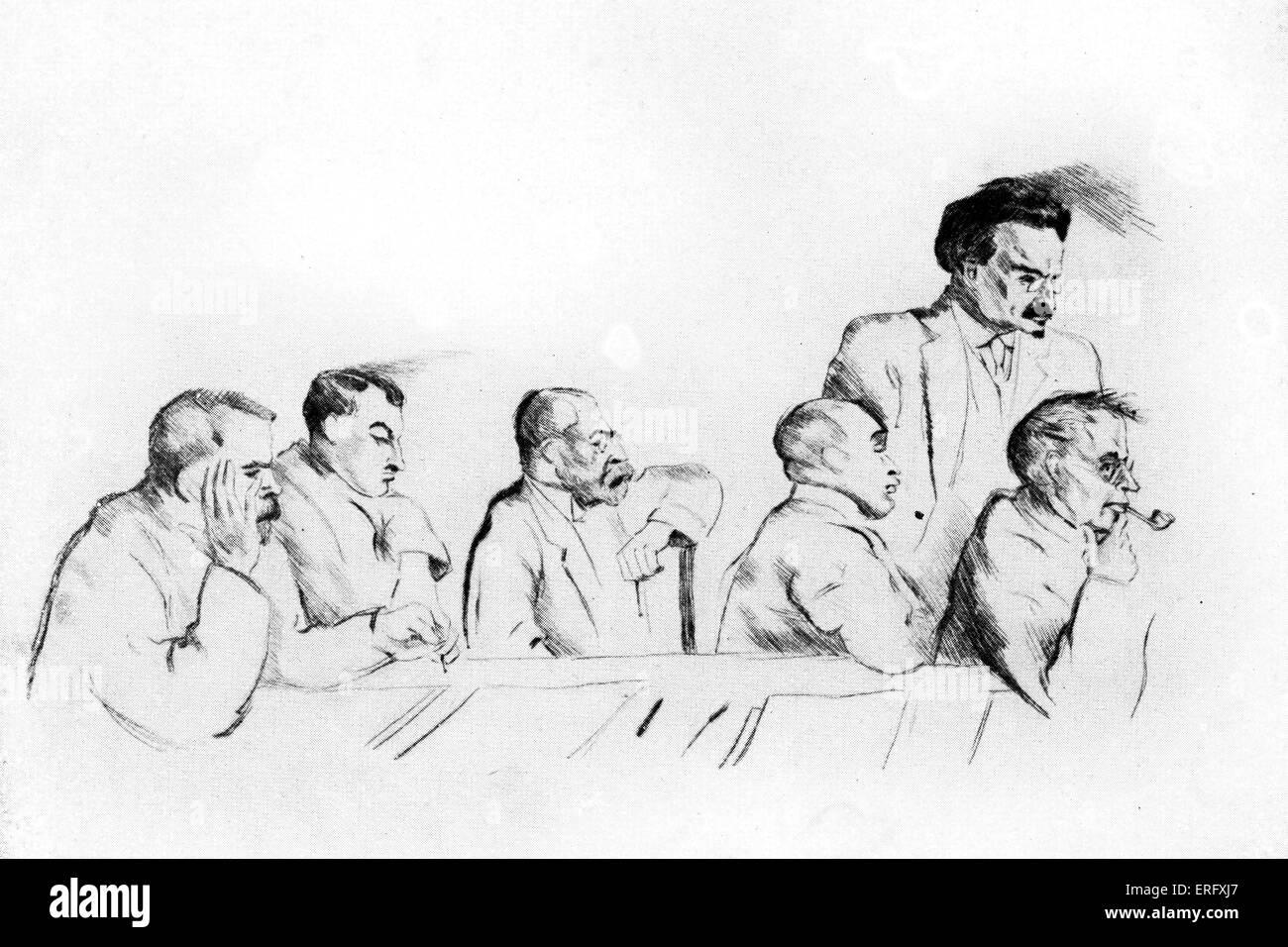 I russi alla firma del Trattato di Brest-Litovsk il 3 marzo 1918, a Brest-Litovsk tra la SFSR russo e le Potenze Immagini Stock