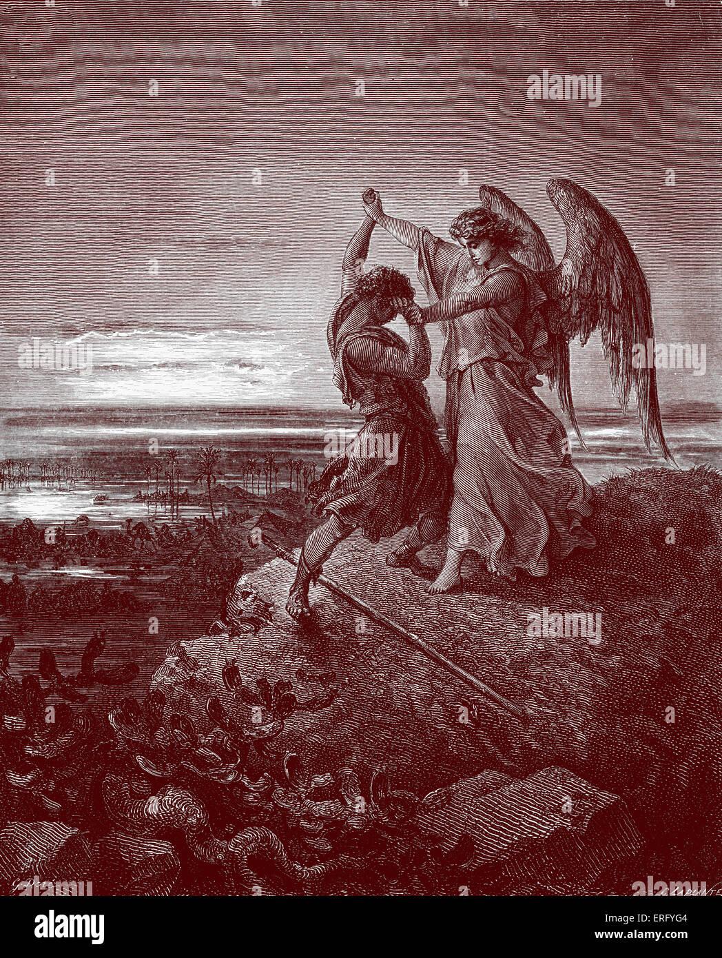 Giacobbe lotta con l'angelo, Genesi 32 : 24 -29. Disegnata da Gustave Doré, artista francese, b 6 Gennaio Immagini Stock