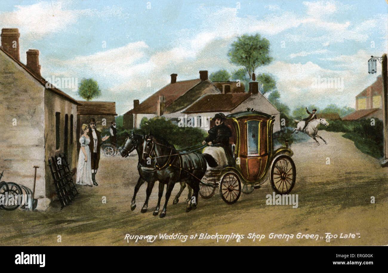 "Runaway nozze di Fabbri Shop, Gretna Green, Scozia. La didascalia recita ""troppo tardi"". Fabbro era negozi Immagini Stock"