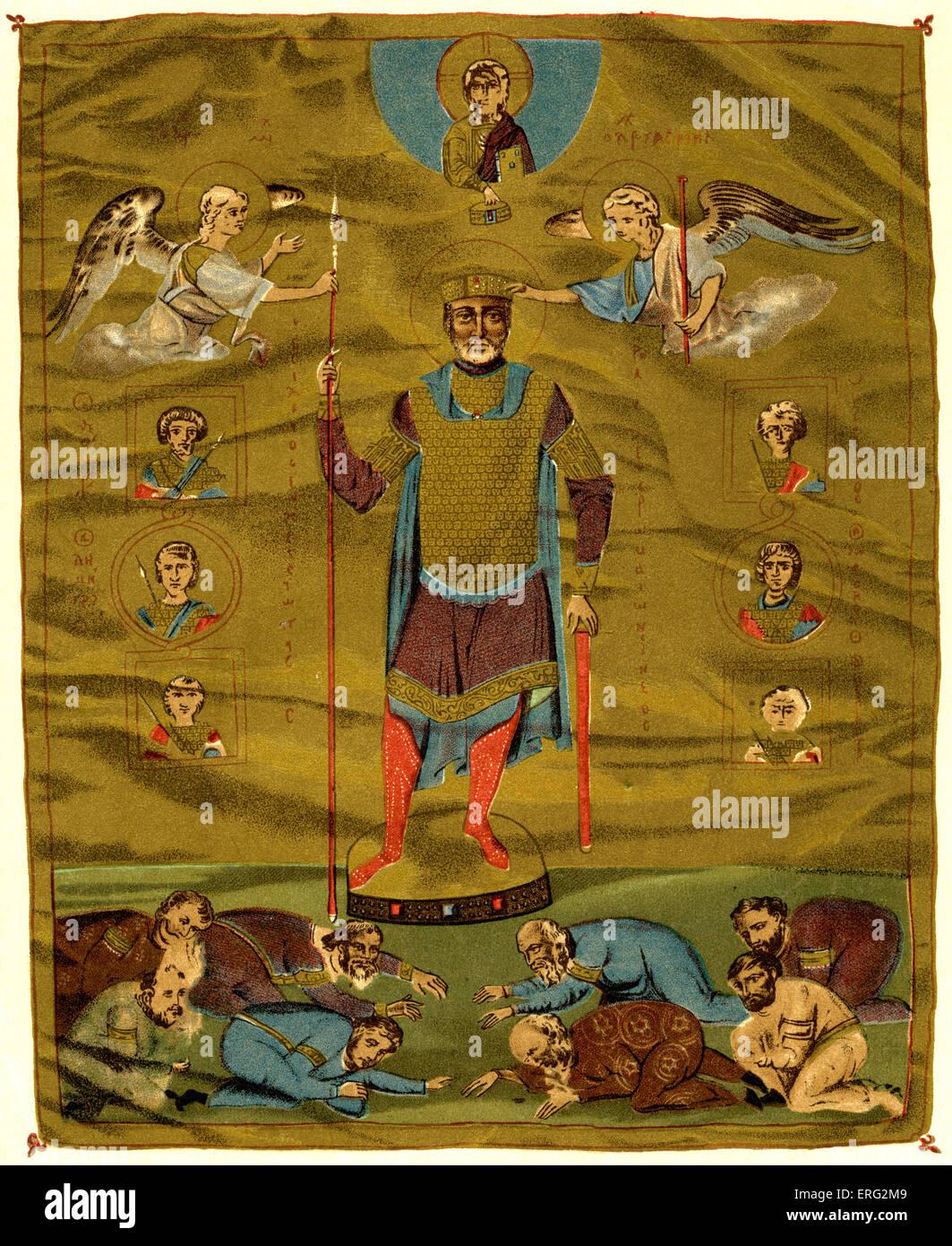 L'imperatore Basileios II, il bulgaro Killer, circondato da generali e figure piegando verso il basso. Basileios Immagini Stock