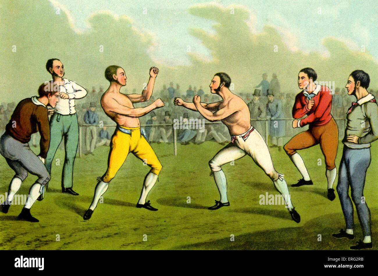 Bare-fuso a snodo il pugilato. Incisione di Henry Alken artista britannico 12 Ottobre 1785 - 7 aprile 1851. Immagini Stock