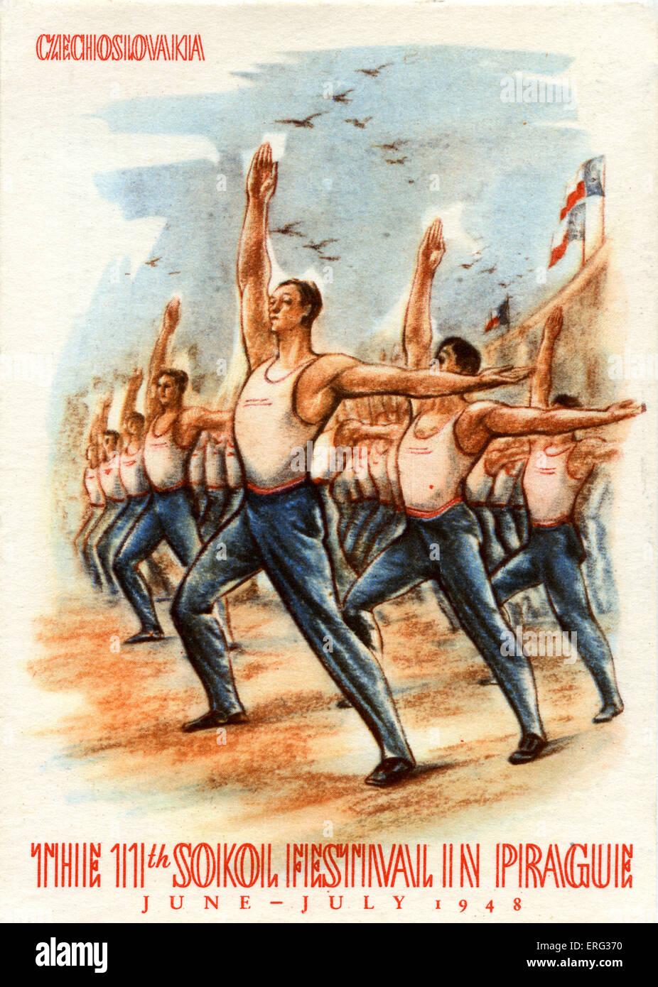 Xi Festival Sokol, una gioventù lo sport e la ginnastica festival, tenutosi a Praga in giugno - luglio 1948. Immagini Stock