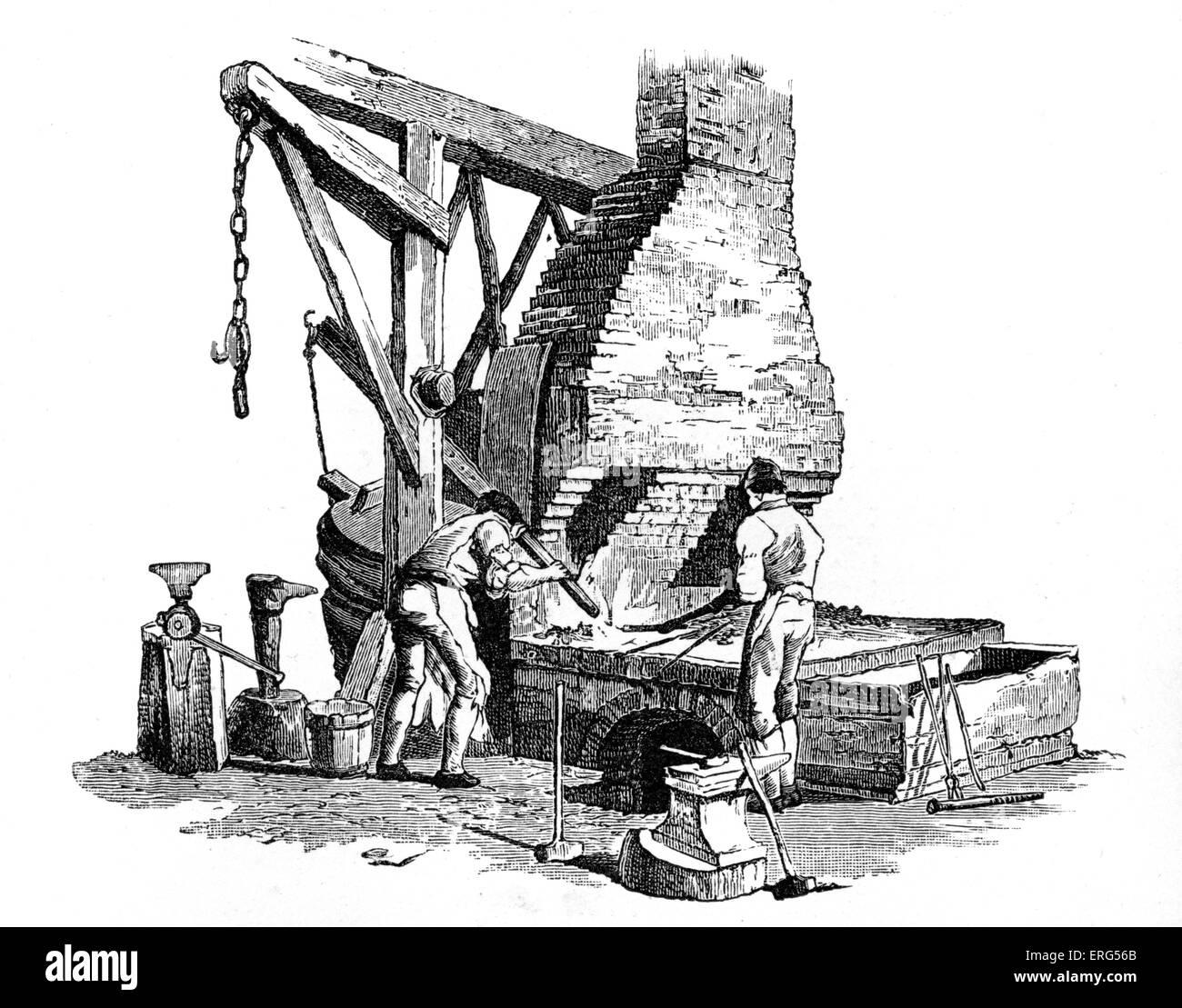 """Fonderia di ferro, Londra. Da Pyne 'Microcosm"""" 1803-1806 Immagini Stock"""