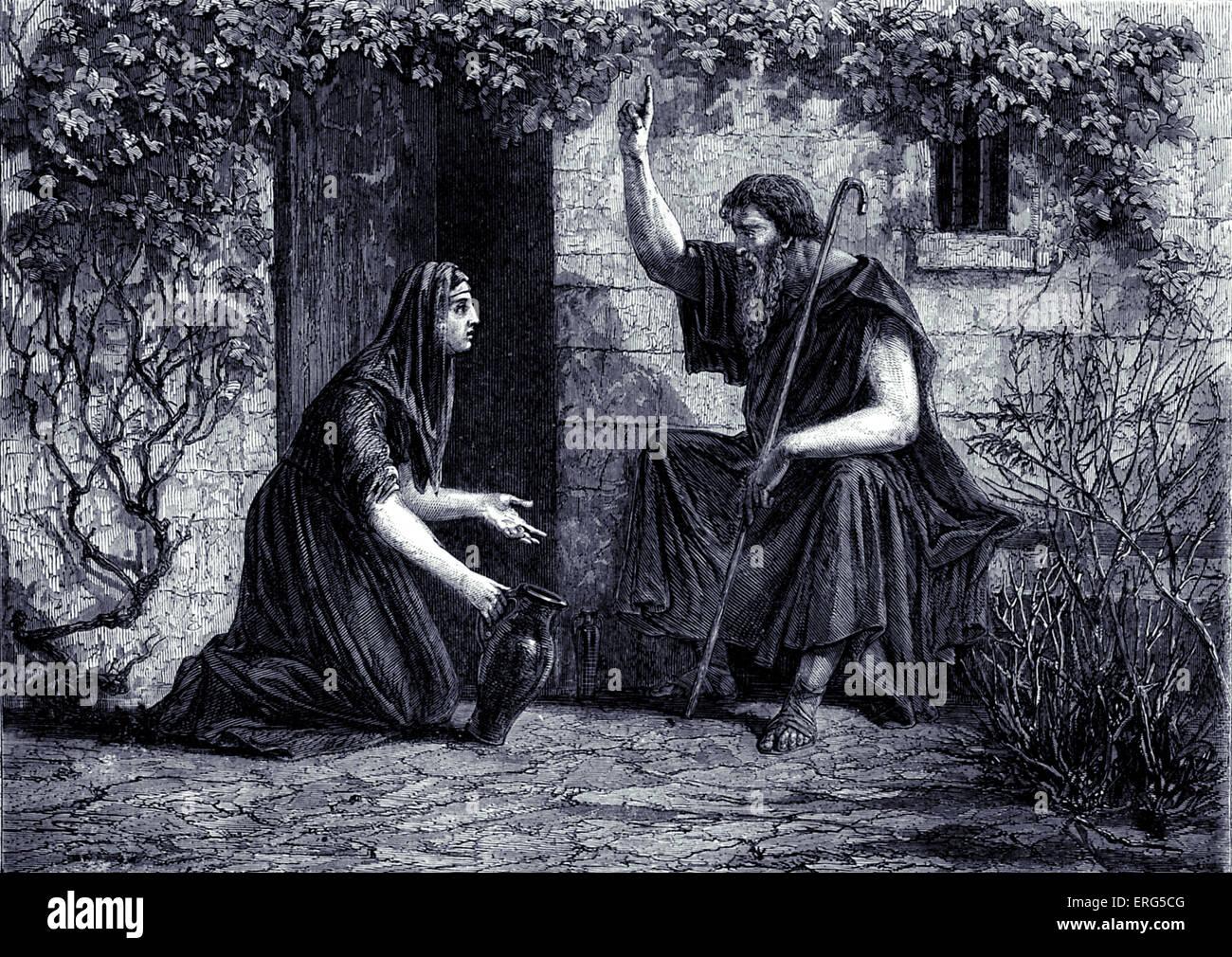 """Elia che rivendicano l'ospitalità della vedova di Sarepta. La Bibbia, Kings XVII, 10: """" Allora egli Immagini Stock"""