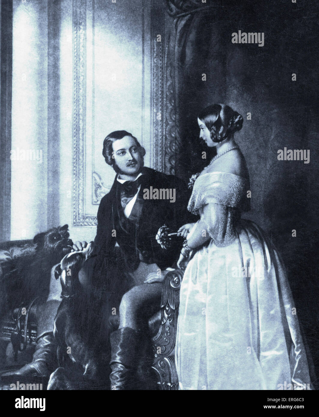 La regina Vittoria e il Principe Alberto - ritratto con il gioco.  19thcCentury Foto stock - Alamy