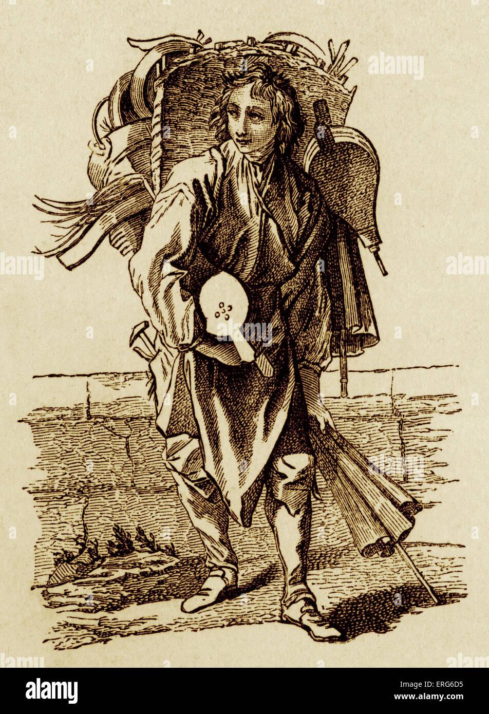 Il francese del XVIII secolo fornitore a soffietto. La vita quotidiana  nella storia di Francia. Costume e Moda. Classe operaia 448d111f10a9