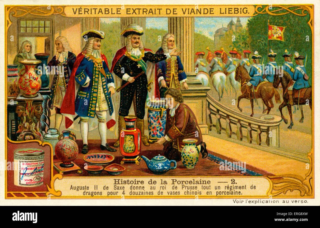 Il principe Augusto II di Sassonia diede un intero reggimento di armati e dotato dragoni al re di Prussia in cambio Immagini Stock