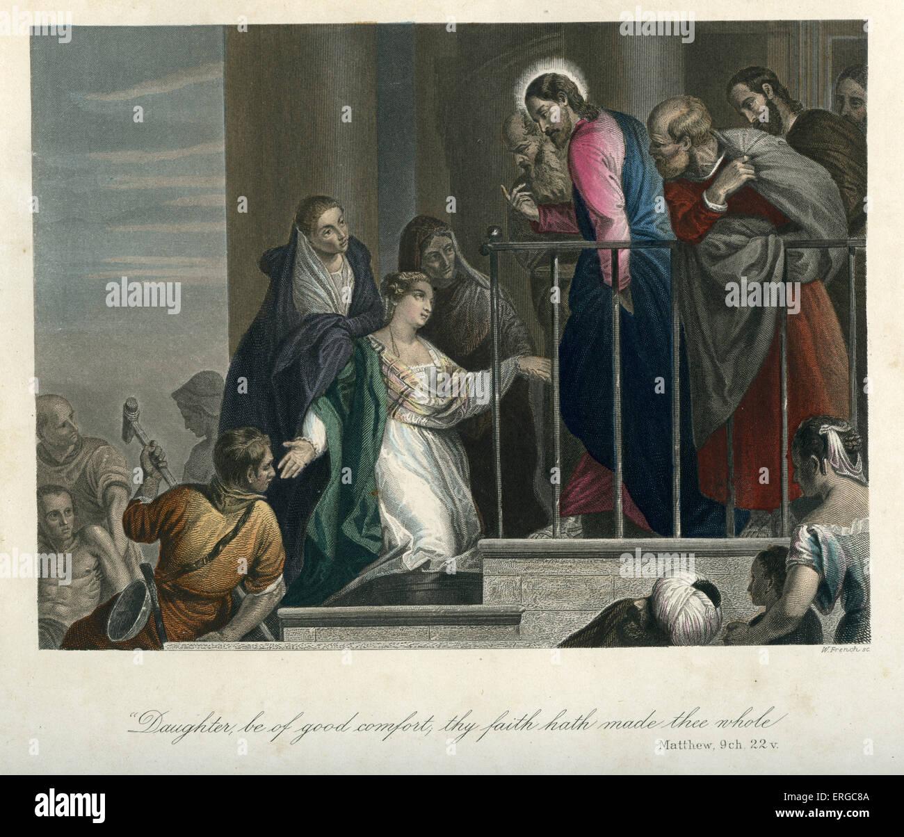 Gesù guarisce una donna con problemi di sangue. La didascalia recita: ' essere figlia di buon comfort, Immagini Stock