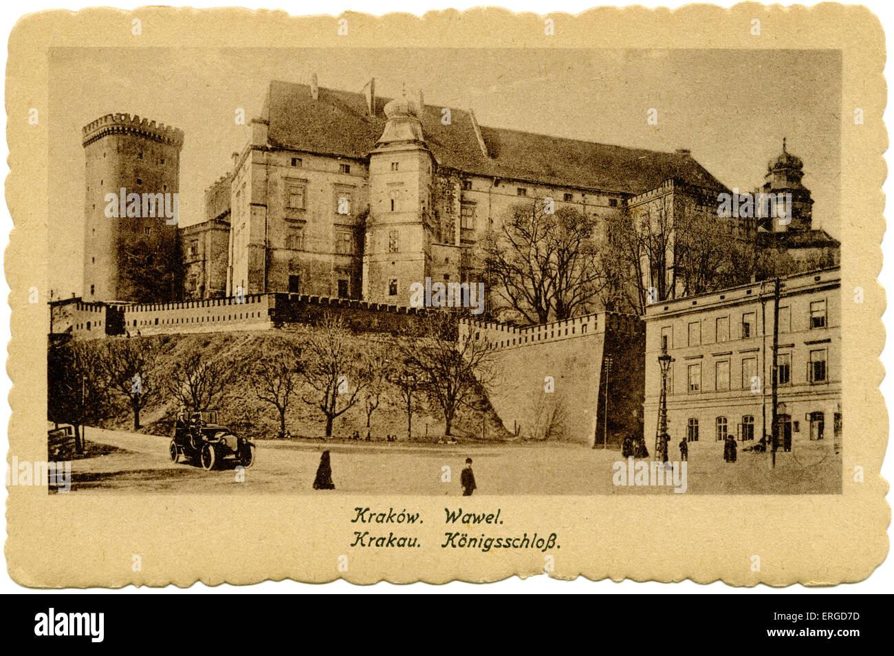 Il castello di Wawel, Cracovia, 1918. Costruito a richiesta del Casimir III e successivamente ricostruita nel XIV Immagini Stock