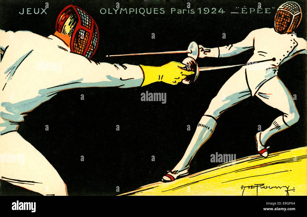 Olimpiadi 1924 Parigi Francia. Campionati di scherma. Jeux Olympiques Immagini Stock