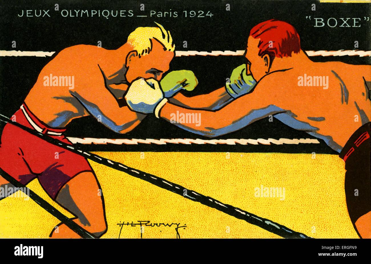 Olimpiadi 1924 Parigi Francia. Pugili, boxe campionato. Jeux Olympiques Immagini Stock