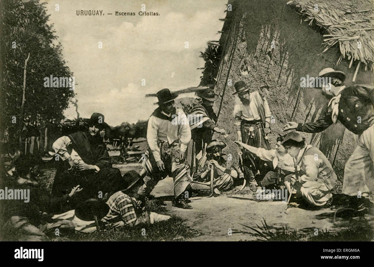 Nei primi anni del XX secolo una cartolina di Uruguayan gauchos/ cowboy. Immagini Stock