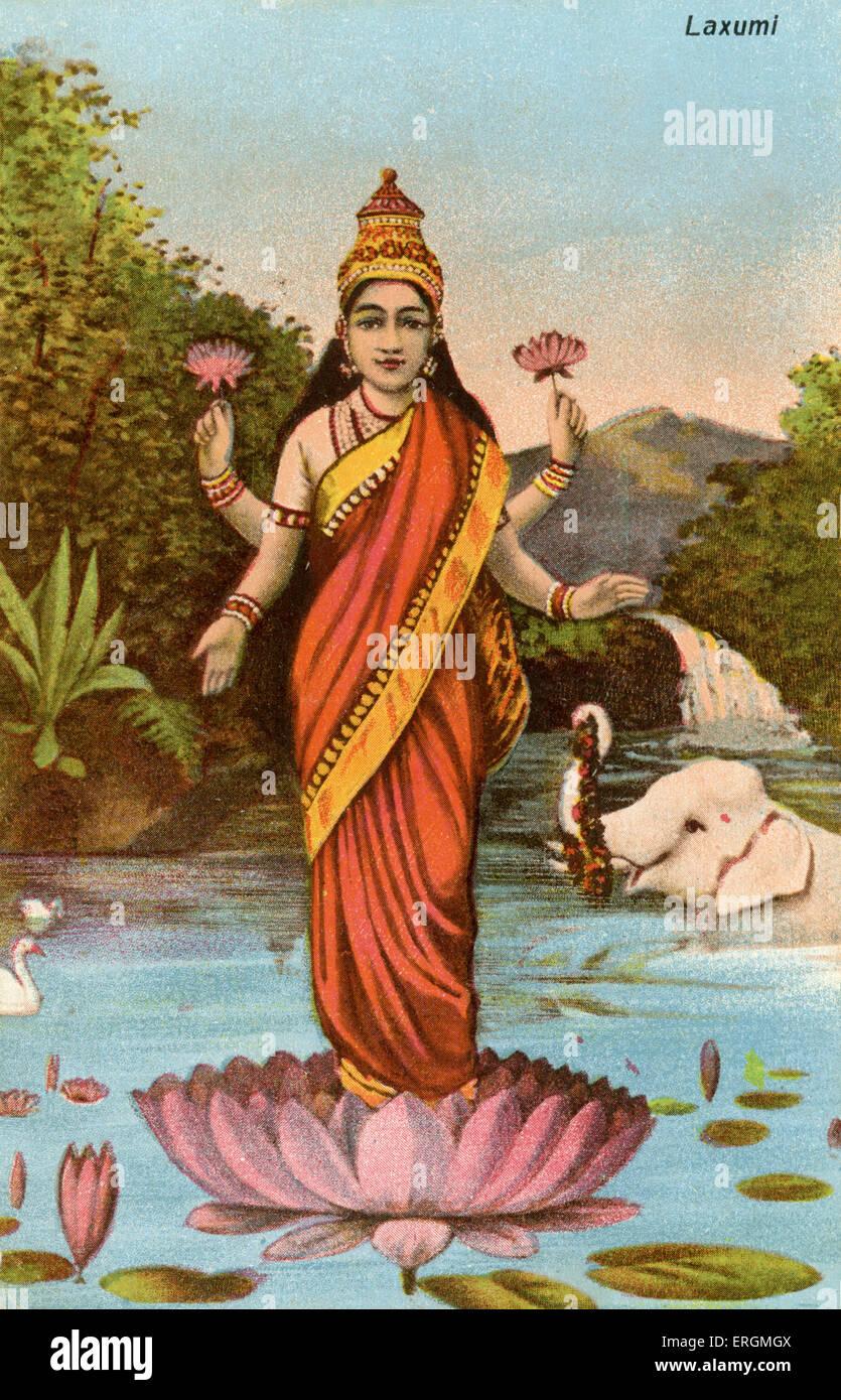 Lakshmi, la dea Indù della ricchezza, la prosperità, la ricchezza e la bellezza. Lakshmi, consorte di Immagini Stock