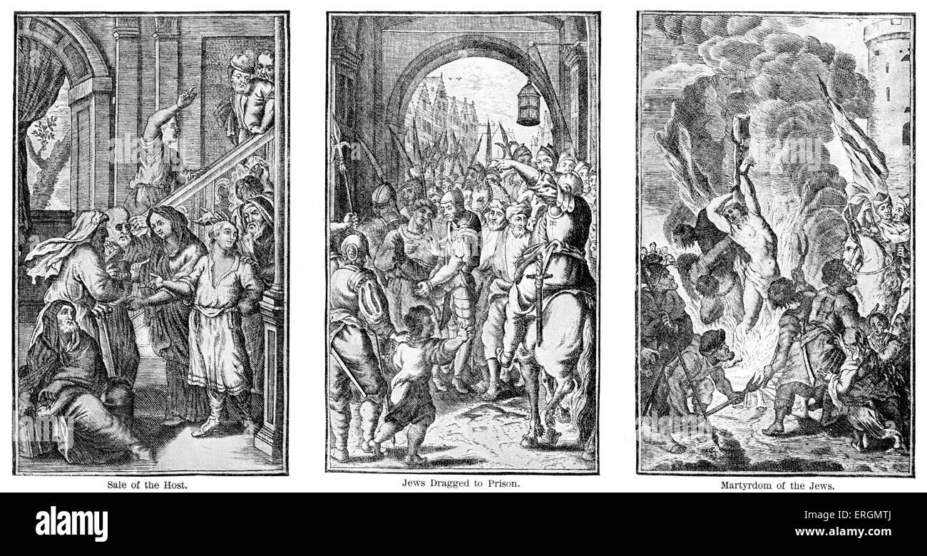 Il massacro di Bruxelles, 1370. Queste immagini mostrano il massacro di una ventina di ebrei dopo le accuse di Host Immagini Stock