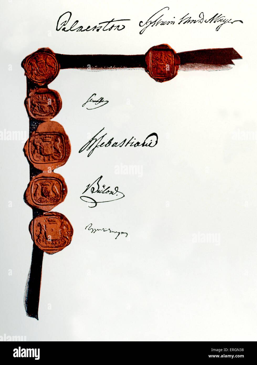 Il Trattato di Londra del 1839, noto come il primo trattato di Londra/ la convenzione del 1839 / e il Trattato di Immagini Stock