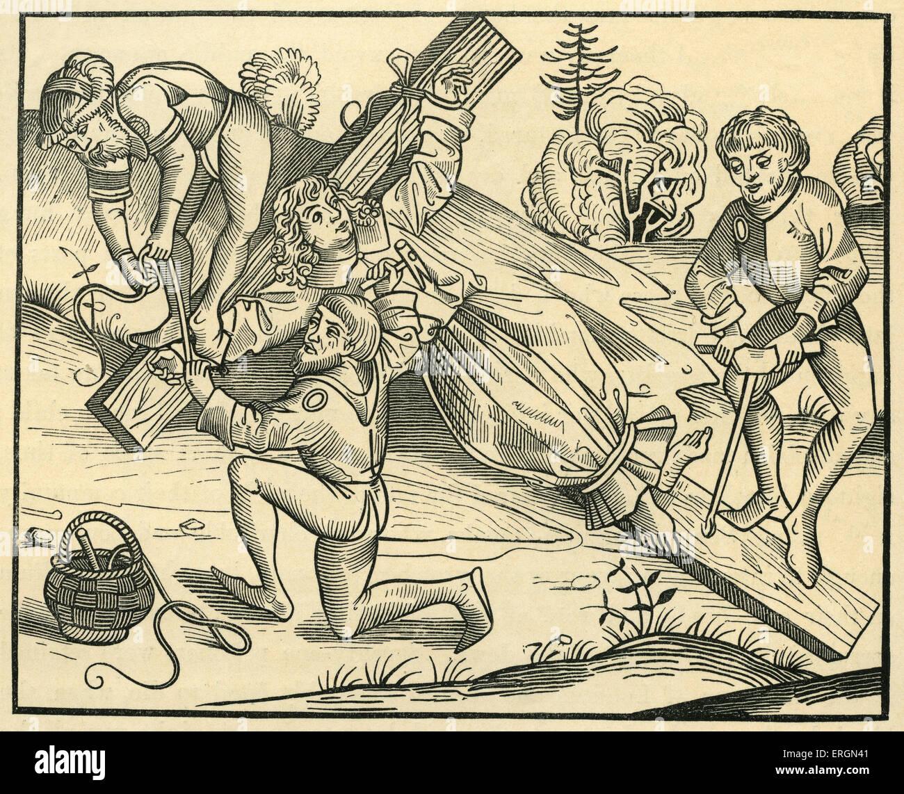 """Il neonato Richard presumibilmente crocifisso dai Giudei a Pontoise, dopo una xilografia """"Liber Chronicarum Immagini Stock"""