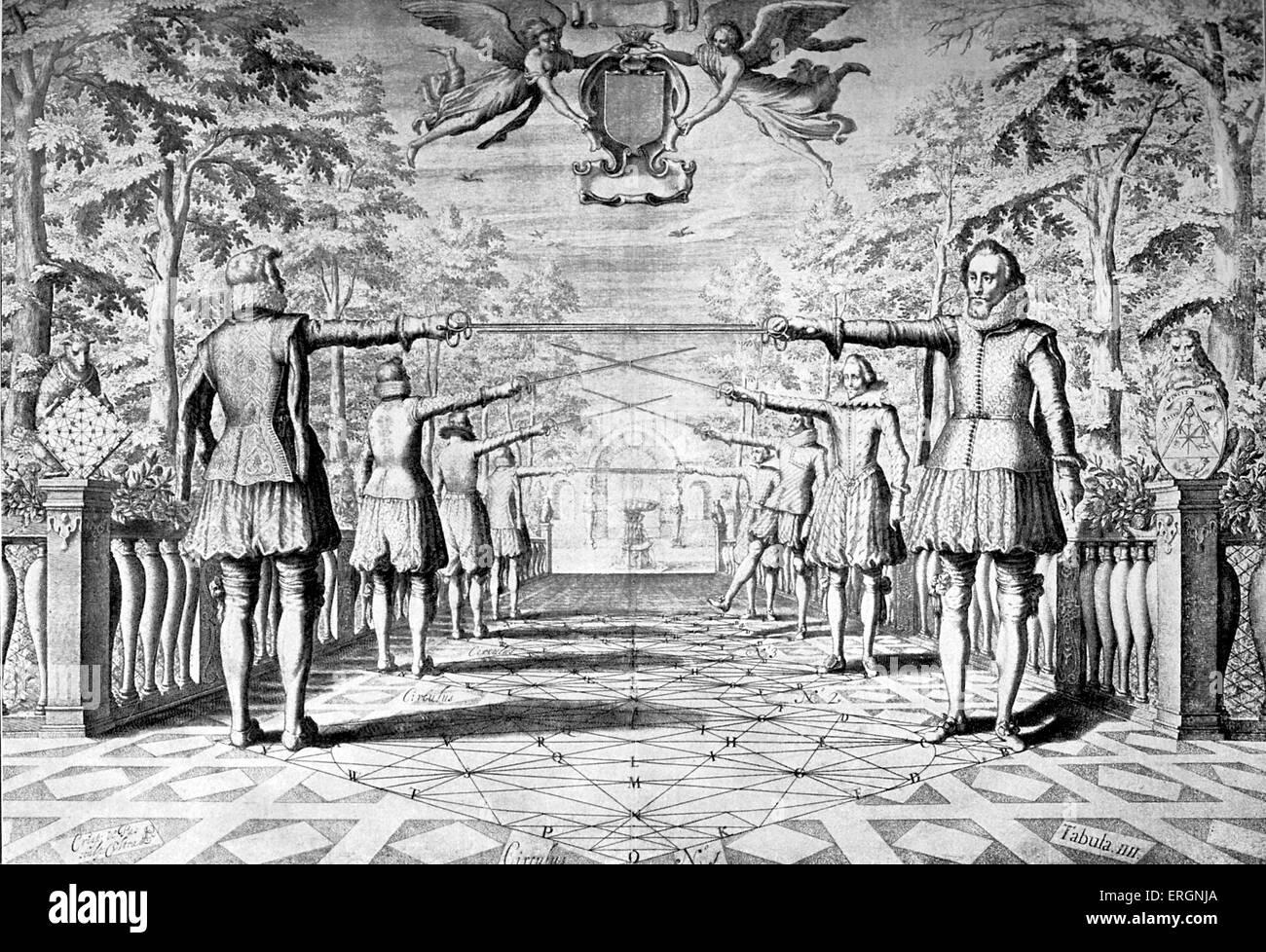 Incisione raffigurante la tecnica di scherma dall' Academie de l'Espée (Accademia di spada), 1628 manuale Immagini Stock