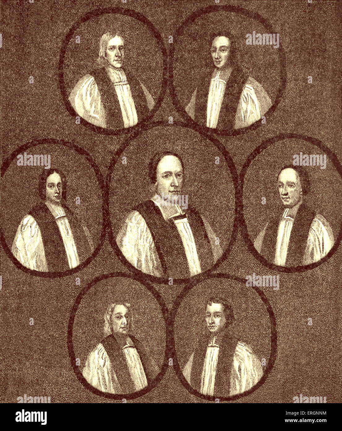 I sette Vescovi impegnati alla torre nel 1688, da un artista sconosciuto. I sette vescovi anglicani che erano stati Immagini Stock