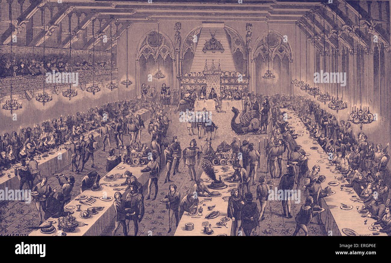 Medioevo festa scena, con il dessert. Francia, XIV secolo. Immagini Stock