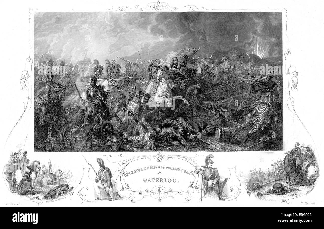 La battaglia di Waterloo. La didascalia recita ' carica decisiva della vita delle guardie a Waterloo.' incisione Immagini Stock