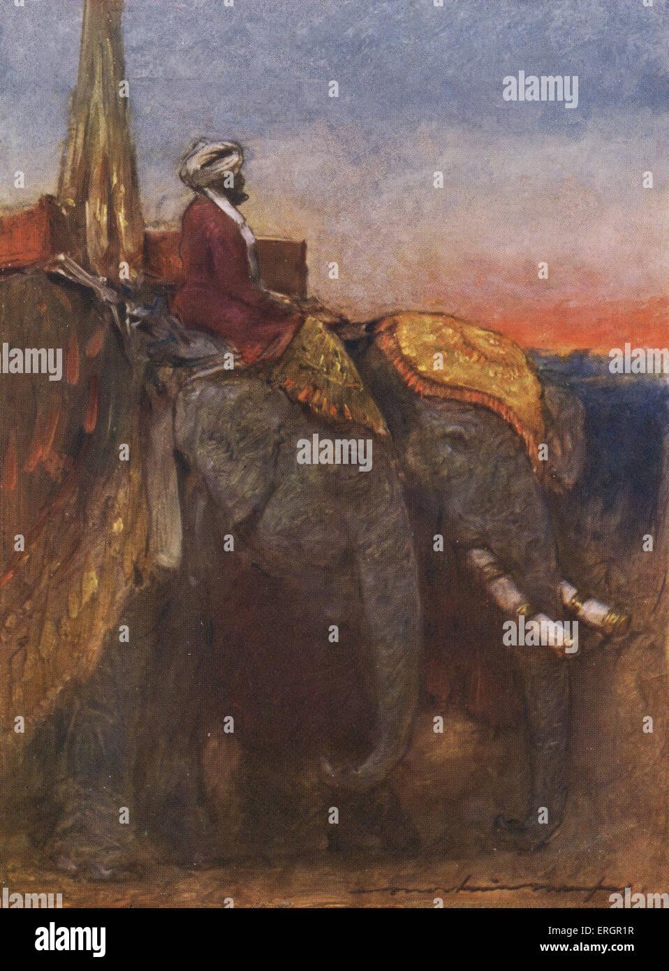Jaipur elefanti - uomo che cavalca un elefante adornata con una capocchia decorativa.(pittore australiano Mortimer Immagini Stock