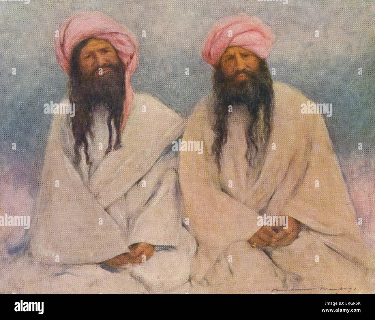 Ritratto di due capi Baluchi, i membri di una società tribale nativo della regione di Balochistan del subcontinente Immagini Stock