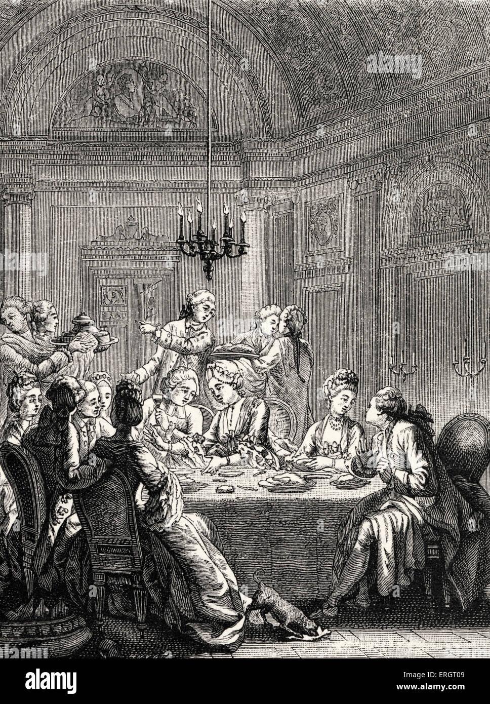 La vita quotidiana nella storia francese  un aristocratico cena nel XVIII  secolo in Francia durante il regno di Luigi XV. Alta società sala da pranzo    8732726bf258