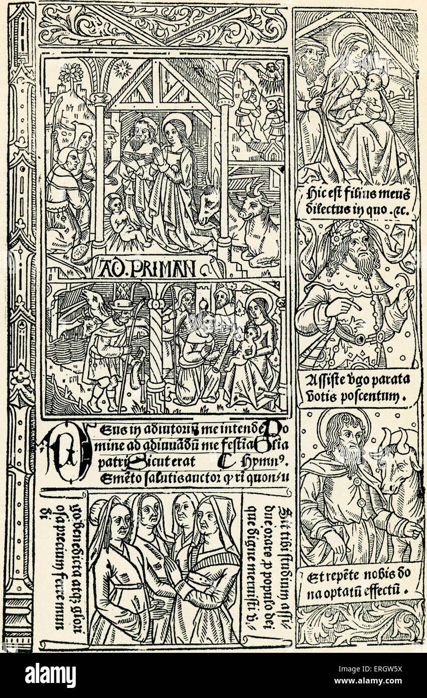 """Horae"" (libro d ore) stampate da Antoine Verard c 1490. La didascalia recita: ""hephards presentando Immagini Stock"