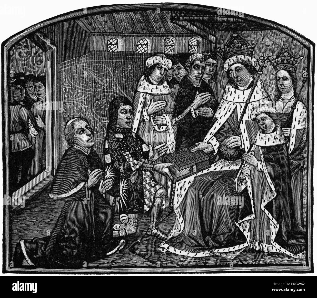 """'Dictes e proverbi dei filosofi"""" stampati da William Caxton nel 1477. La didascalia recita: """"Earl Immagini Stock"""