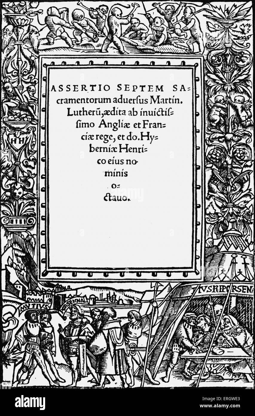 """La difesa dei sette sacramenti' ('Assertio Septem Sacramentorum'). Libro scritto da Enrico VIII Immagini Stock"
