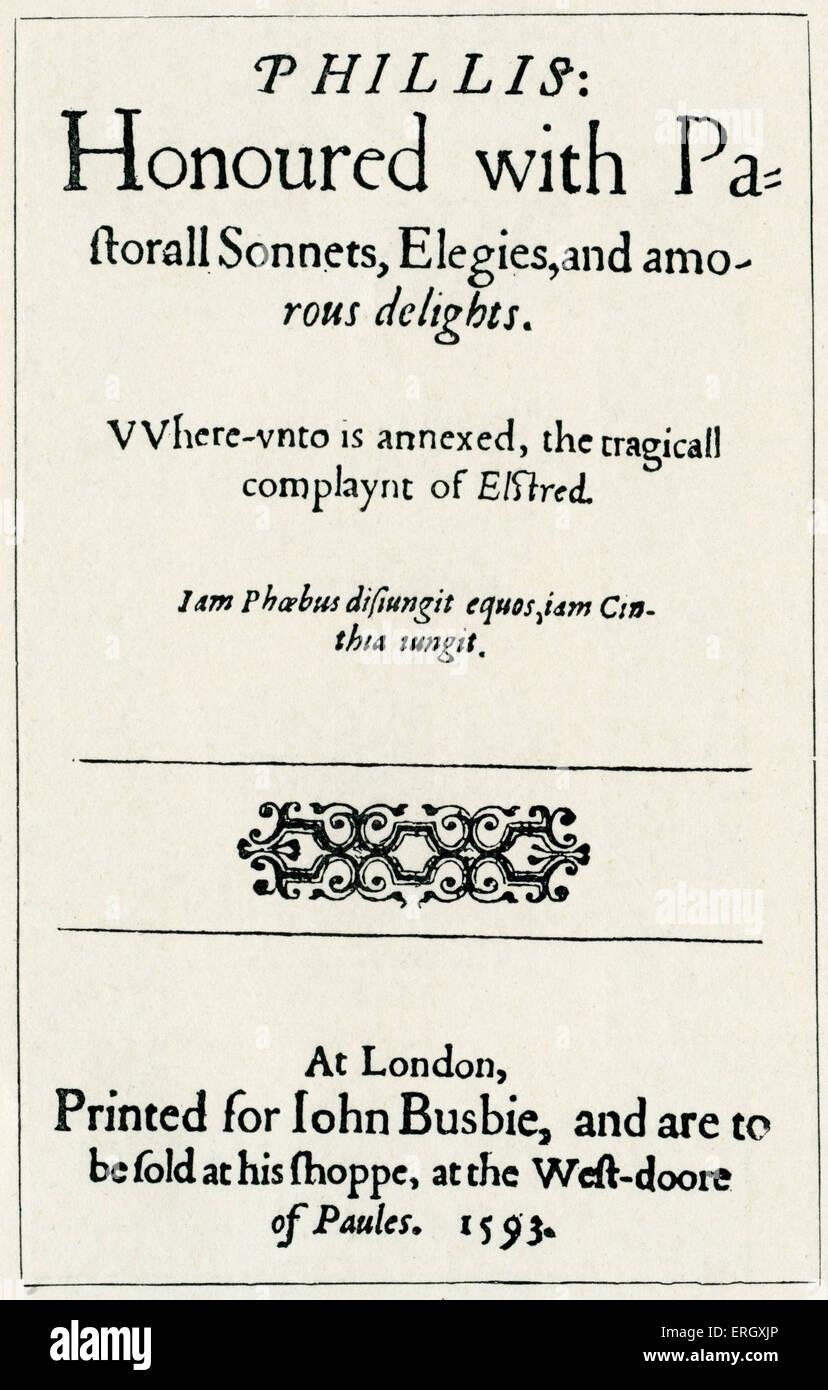 """""""Phillis'. Un volume di sonetti di Thomas Lodge. 1593. Pagina del titolo Drammaturgo inglese e scrittore, Immagini Stock"""