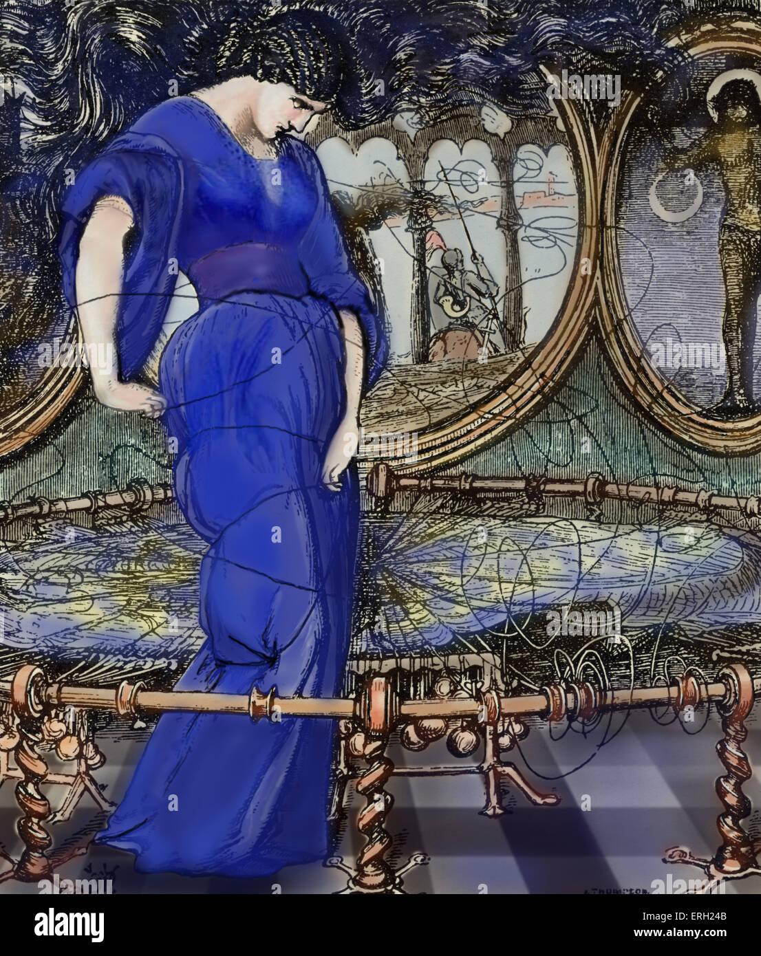 Signora di Shalott. La signora di Shalott è un poema Vittoriano dal poeta inglese Alfred Tennyson signore. Immagini Stock