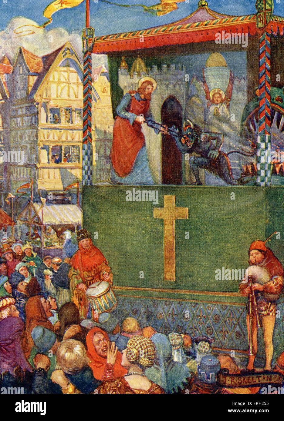 """Guild giocare essendo eseguita nel medioevo, circa trecento. La didascalia recita: """"i demoni erano generalmente Immagini Stock"""
