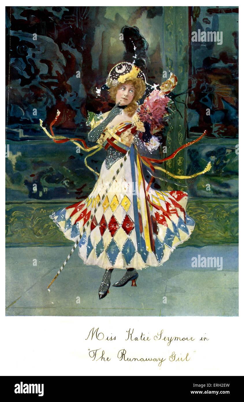 Kate Seymour come Alice nel 'Runaway Girl'. 1898 Scritto da Seymour Hicks e Harry Nicholls. Una commedia Immagini Stock
