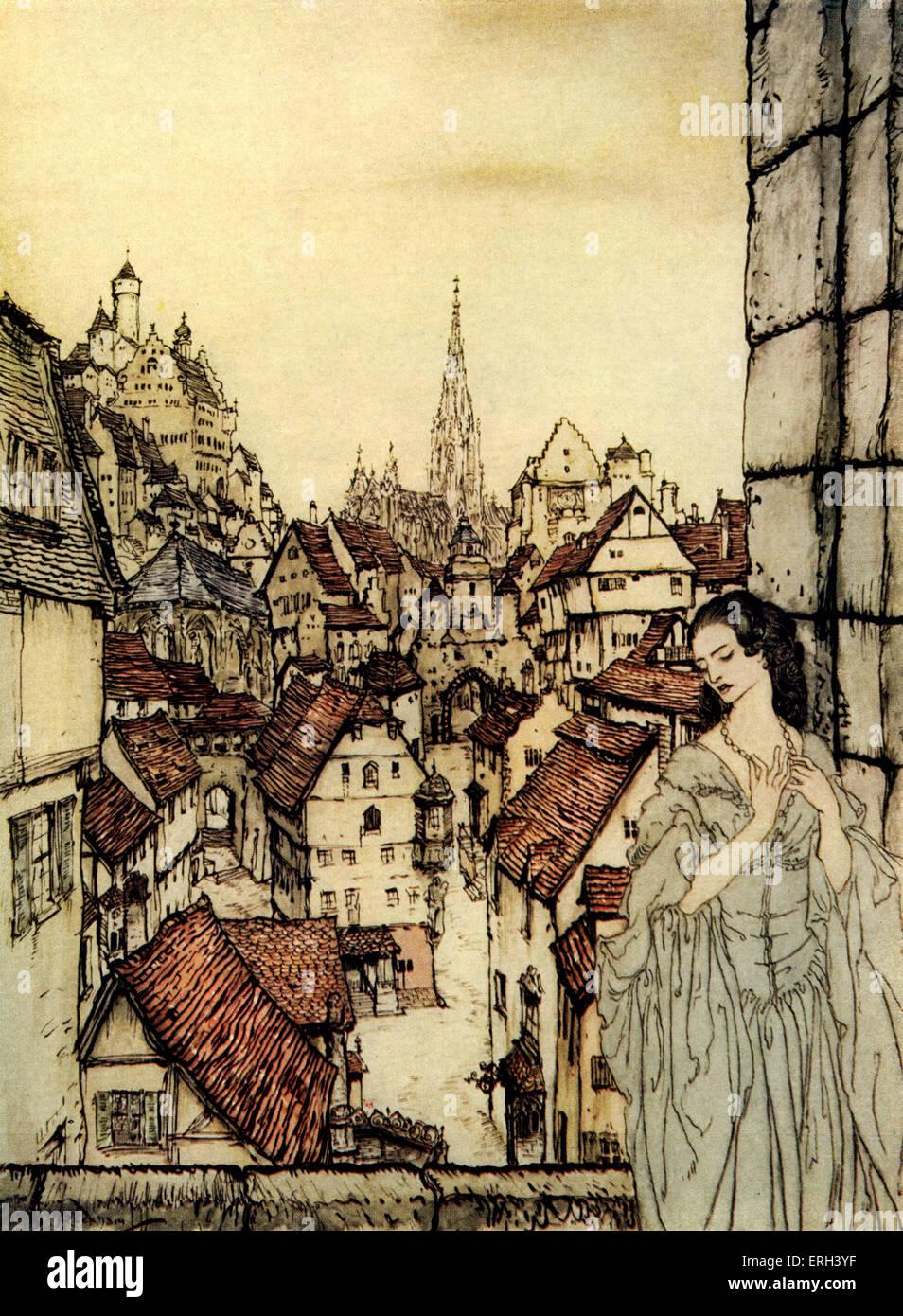 """"""""""" Ligeia di Edgar Allan Poe. Il romanticismo gotico tra Ligeia e narratore senza nome. Il loro primo Immagini Stock"""